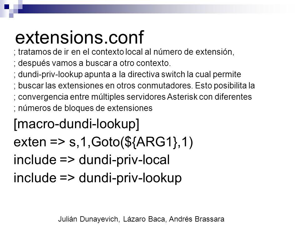 extensions.conf ; tratamos de ir en el contexto local al número de extensión, ; después vamos a buscar a otro contexto. ; dundi-priv-lookup apunta a l