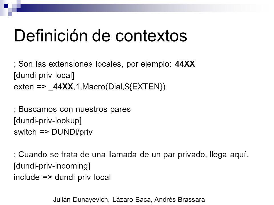 Definición de contextos ; Son las extensiones locales, por ejemplo: 44XX [dundi-priv-local] exten => _44XX,1,Macro(Dial,${EXTEN}) ; Buscamos con nuest