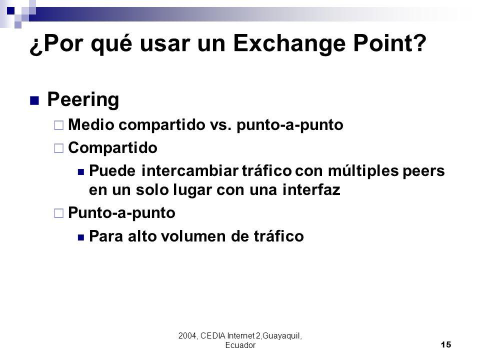2004, CEDIA Internet 2,Guayaquil, Ecuador15 ¿Por qué usar un Exchange Point? Peering Medio compartido vs. punto-a-punto Compartido Puede intercambiar