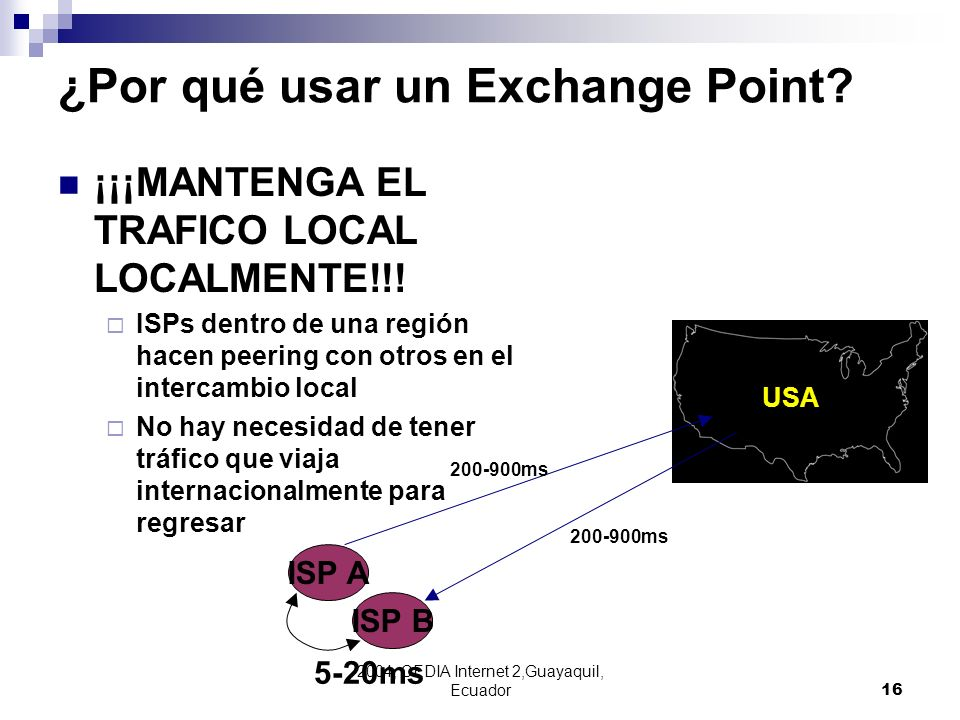 2004, CEDIA Internet 2,Guayaquil, Ecuador16 ISP A ISP B 200-900ms 5-20ms USA ¿Por qué usar un Exchange Point? ¡¡¡MANTENGA EL TRAFICO LOCAL LOCALMENTE!