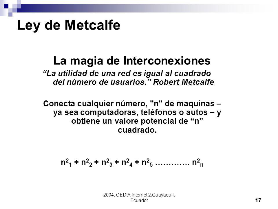 2004, CEDIA Internet 2,Guayaquil, Ecuador17 La magia de Interconexiones La utilidad de una red es igual al cuadrado del número de usuarios. Robert Met