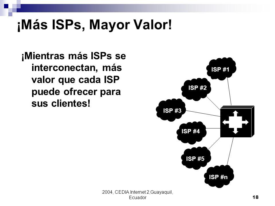 2004, CEDIA Internet 2,Guayaquil, Ecuador18 ISP #2 ¡Mientras más ISPs se interconectan, más valor que cada ISP puede ofrecer para sus clientes! ISP #2
