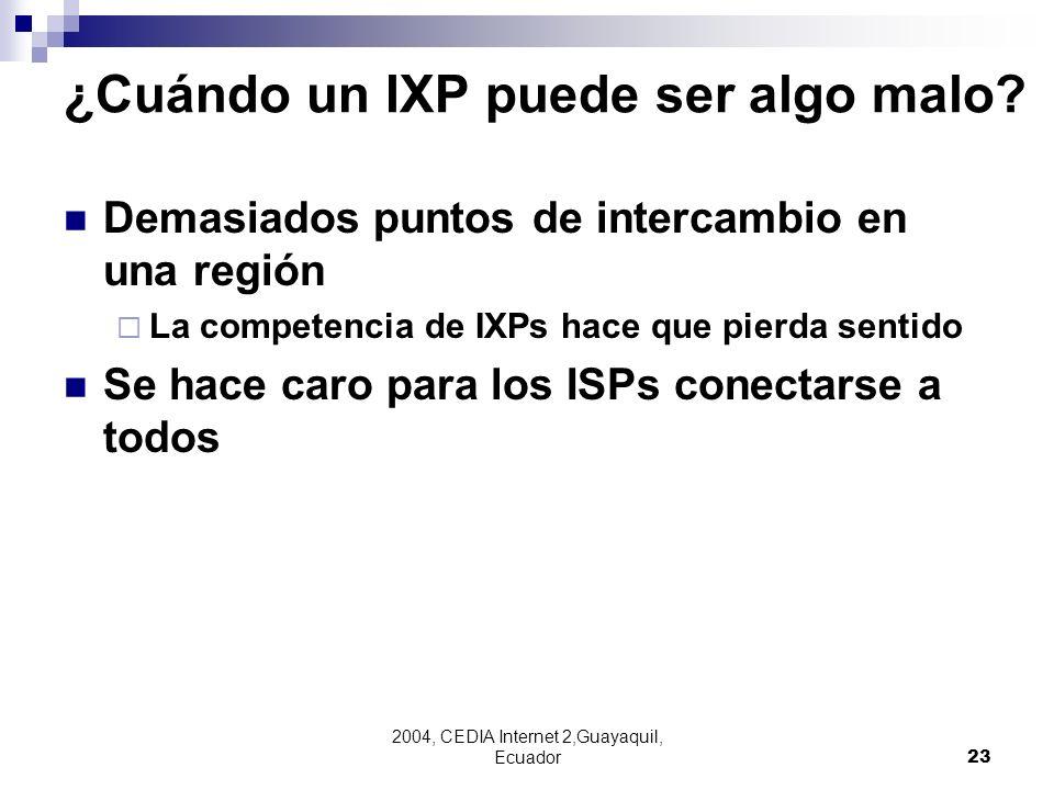 2004, CEDIA Internet 2,Guayaquil, Ecuador23 Demasiados puntos de intercambio en una región La competencia de IXPs hace que pierda sentido Se hace caro
