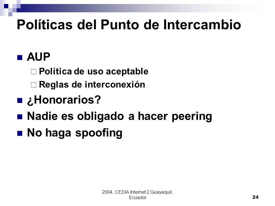 2004, CEDIA Internet 2,Guayaquil, Ecuador24 Políticas del Punto de Intercambio AUP Política de uso aceptable Reglas de interconexión ¿Honorarios? Nadi