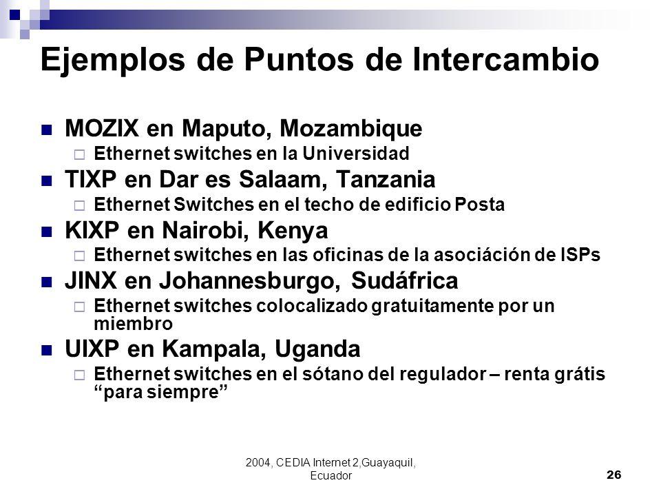 2004, CEDIA Internet 2,Guayaquil, Ecuador26 Ejemplos de Puntos de Intercambio MOZIX en Maputo, Mozambique Ethernet switches en la Universidad TIXP en