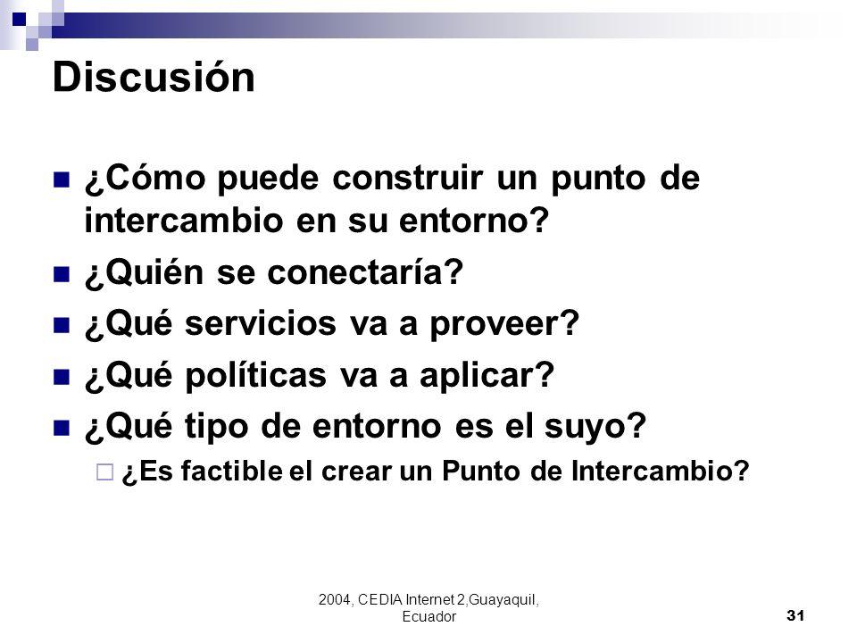 2004, CEDIA Internet 2,Guayaquil, Ecuador31 Discusión ¿Cómo puede construir un punto de intercambio en su entorno? ¿Quién se conectaría? ¿Qué servicio
