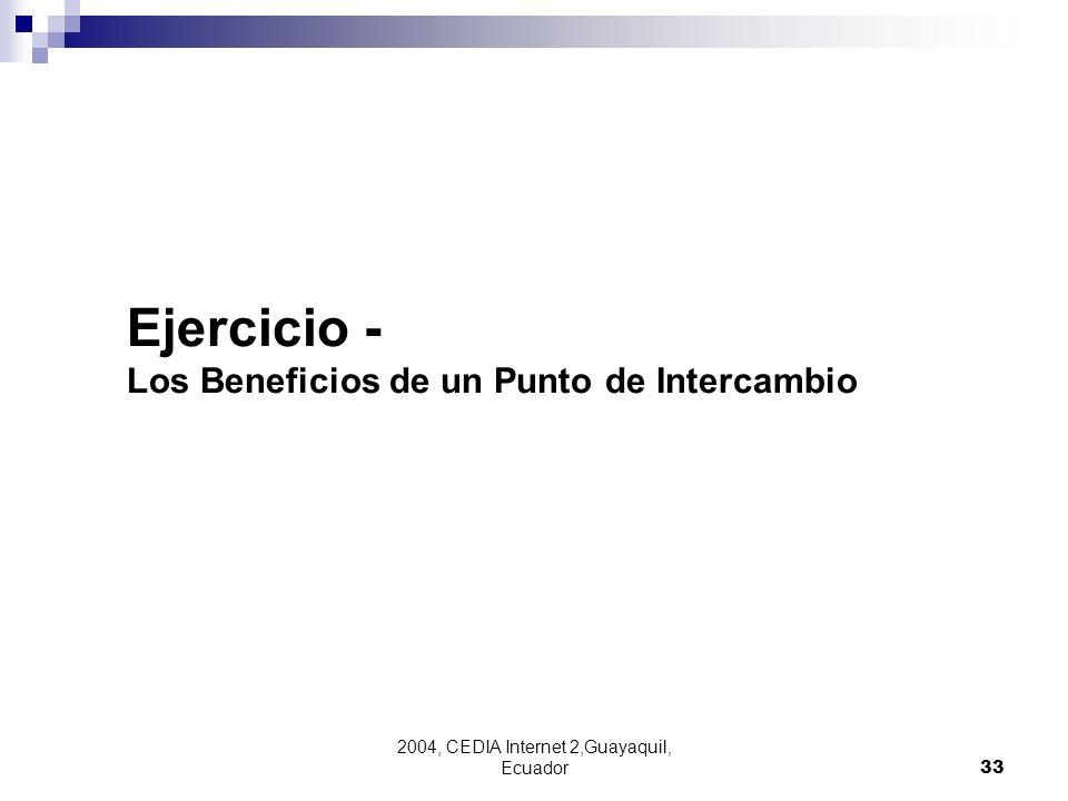 2004, CEDIA Internet 2,Guayaquil, Ecuador33 Ejercicio - Los Beneficios de un Punto de Intercambio