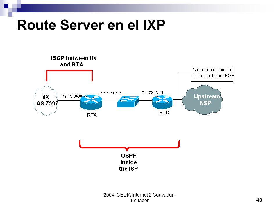 2004, CEDIA Internet 2,Guayaquil, Ecuador40 Route Server en el IXP