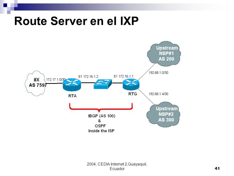 2004, CEDIA Internet 2,Guayaquil, Ecuador41 Route Server en el IXP
