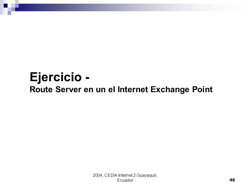 2004, CEDIA Internet 2,Guayaquil, Ecuador46 Ejercicio - Route Server en un el Internet Exchange Point