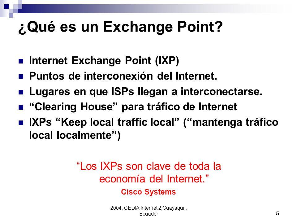 2004, CEDIA Internet 2,Guayaquil, Ecuador5 ¿Qué es un Exchange Point? Internet Exchange Point (IXP) Puntos de interconexión del Internet. Lugares en q