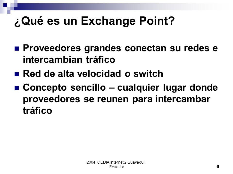 2004, CEDIA Internet 2,Guayaquil, Ecuador6 ¿Qué es un Exchange Point? Proveedores grandes conectan su redes e intercambian tráfico Red de alta velocid