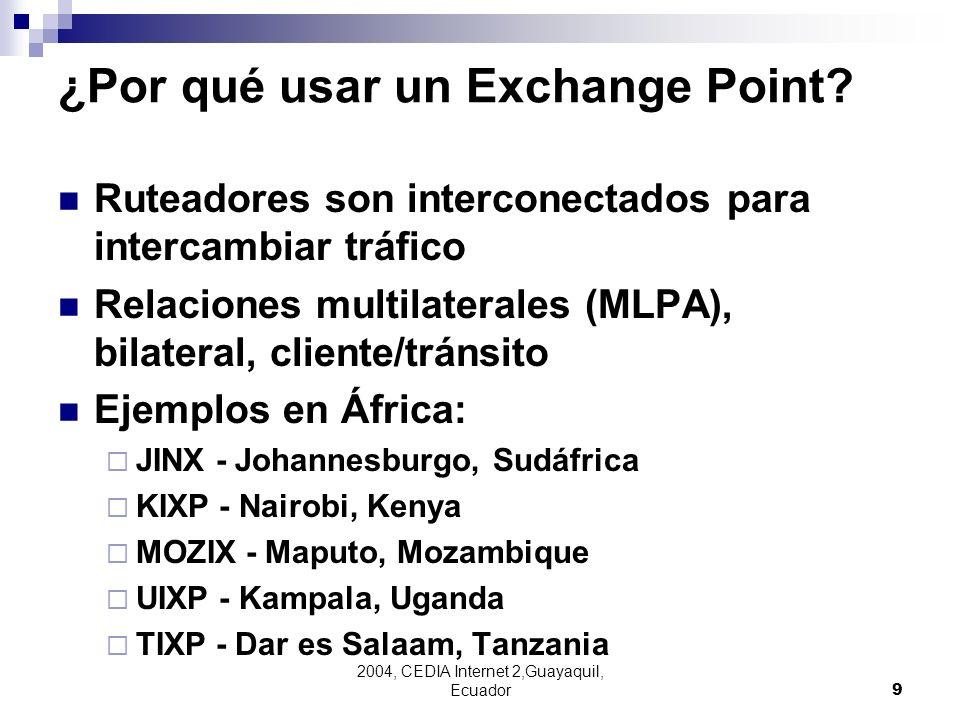 2004, CEDIA Internet 2,Guayaquil, Ecuador9 ¿Por qué usar un Exchange Point? Ruteadores son interconectados para intercambiar tráfico Relaciones multil