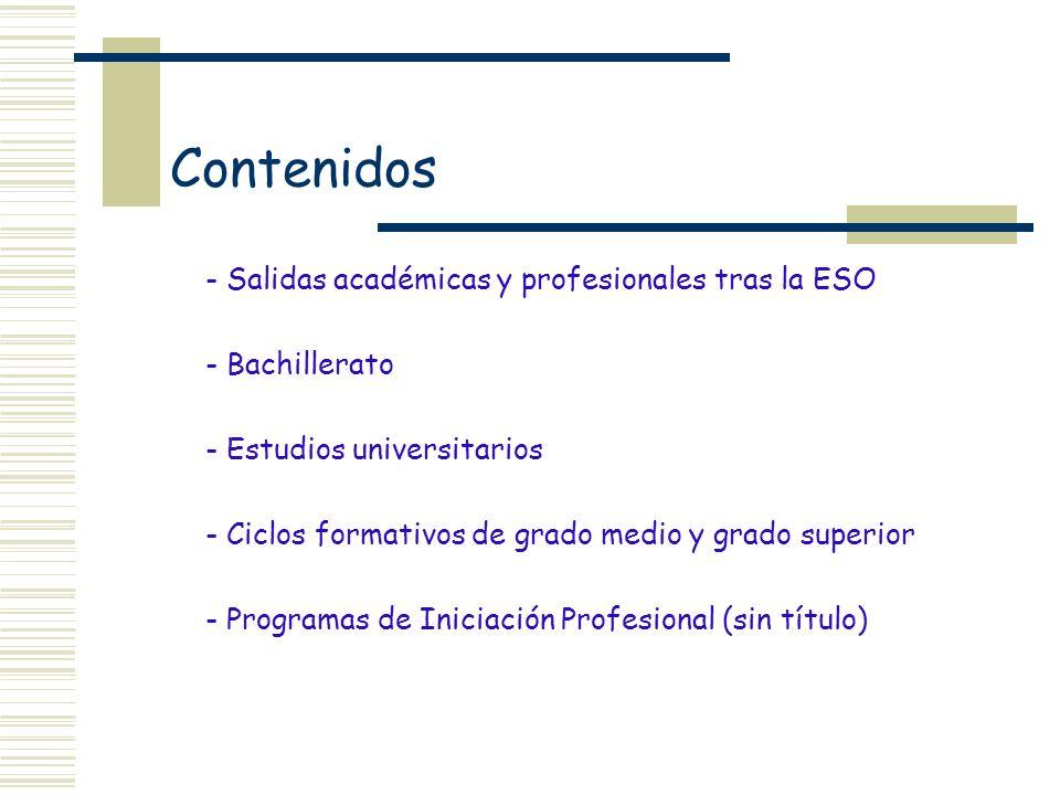 Contenidos - Salidas académicas y profesionales tras la ESO - Bachillerato - Estudios universitarios - Ciclos formativos de grado medio y grado superi
