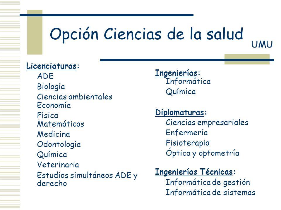 Licenciaturas: ADE Biología Ciencias ambientales Economía Física Matemáticas Medicina Odontología Química Veterinaria Estudios simultáneos ADE y derec