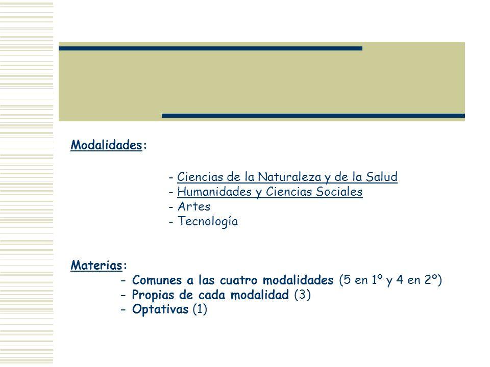 Modalidades: - Ciencias de la Naturaleza y de la Salud - Humanidades y Ciencias Sociales - Artes - Tecnología Materias: - Comunes a las cuatro modalid