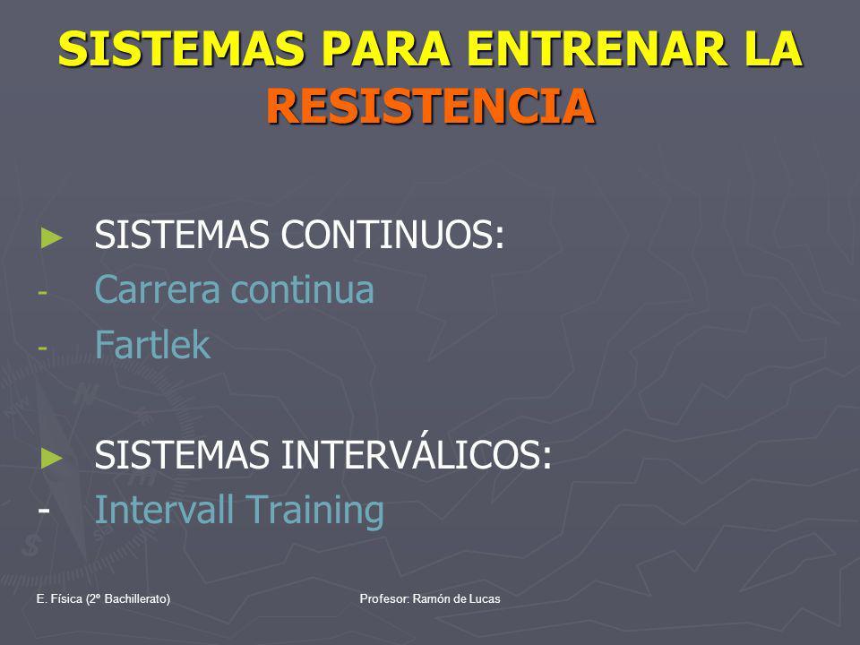 E. Física (2º Bachillerato)Profesor: Ramón de Lucas SISTEMAS PARA ENTRENAR LA RESISTENCIA SISTEMAS CONTINUOS: - - Carrera continua - - Fartlek SISTEMA