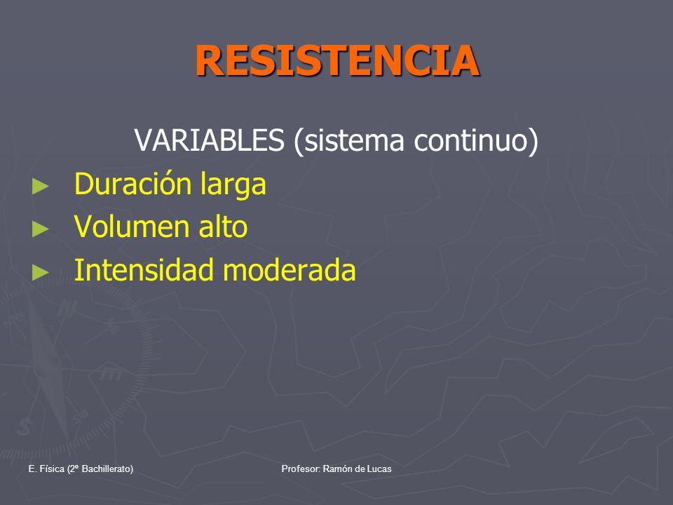 E. Física (2º Bachillerato)Profesor: Ramón de Lucas RESISTENCIA VARIABLES (sistema continuo) Duración larga Volumen alto Intensidad moderada