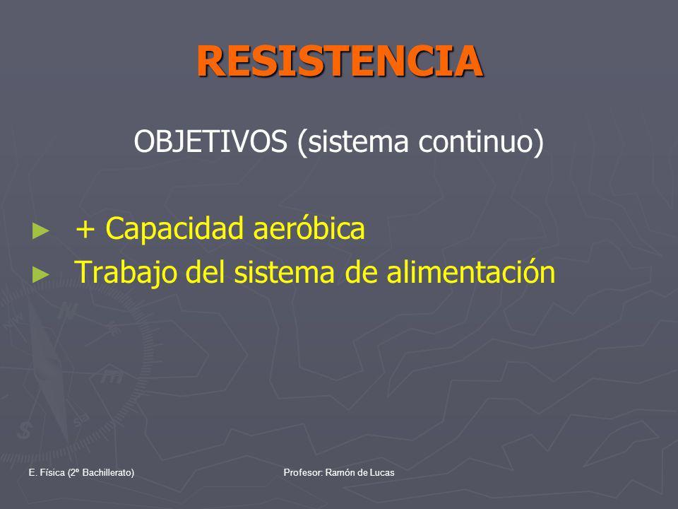 E. Física (2º Bachillerato)Profesor: Ramón de Lucas RESISTENCIA OBJETIVOS (sistema continuo) + Capacidad aeróbica Trabajo del sistema de alimentación