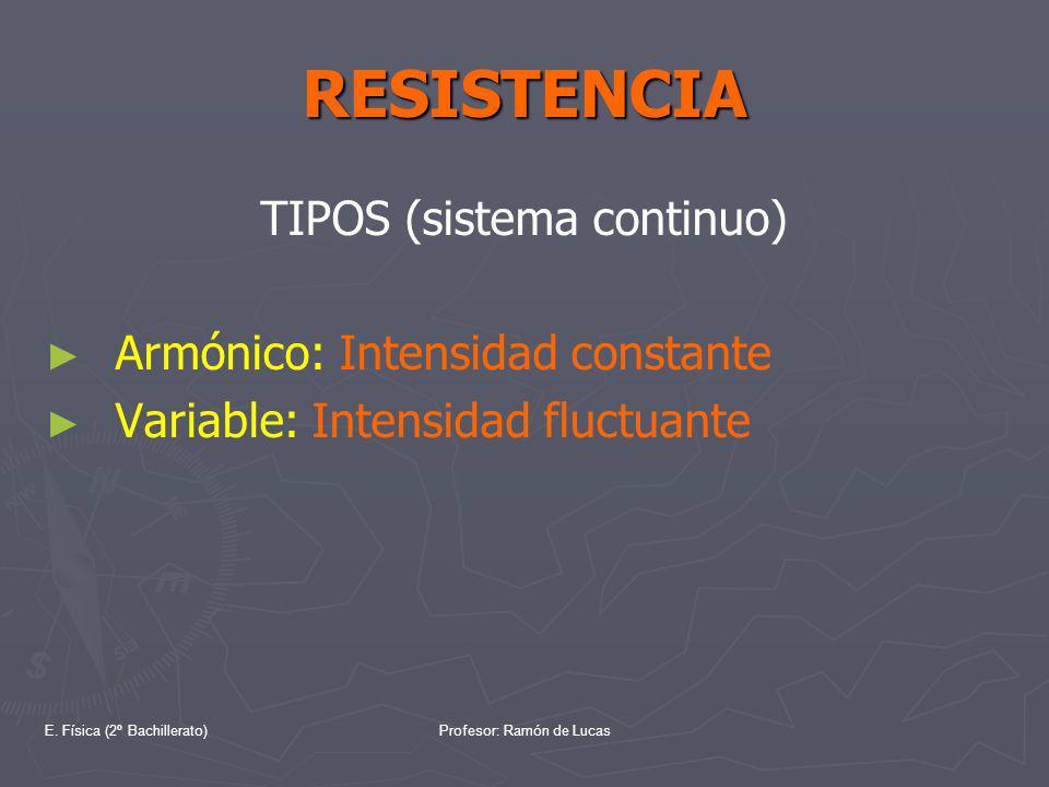 E. Física (2º Bachillerato)Profesor: Ramón de Lucas RESISTENCIA TIPOS (sistema continuo) Armónico: Intensidad constante Variable: Intensidad fluctuant
