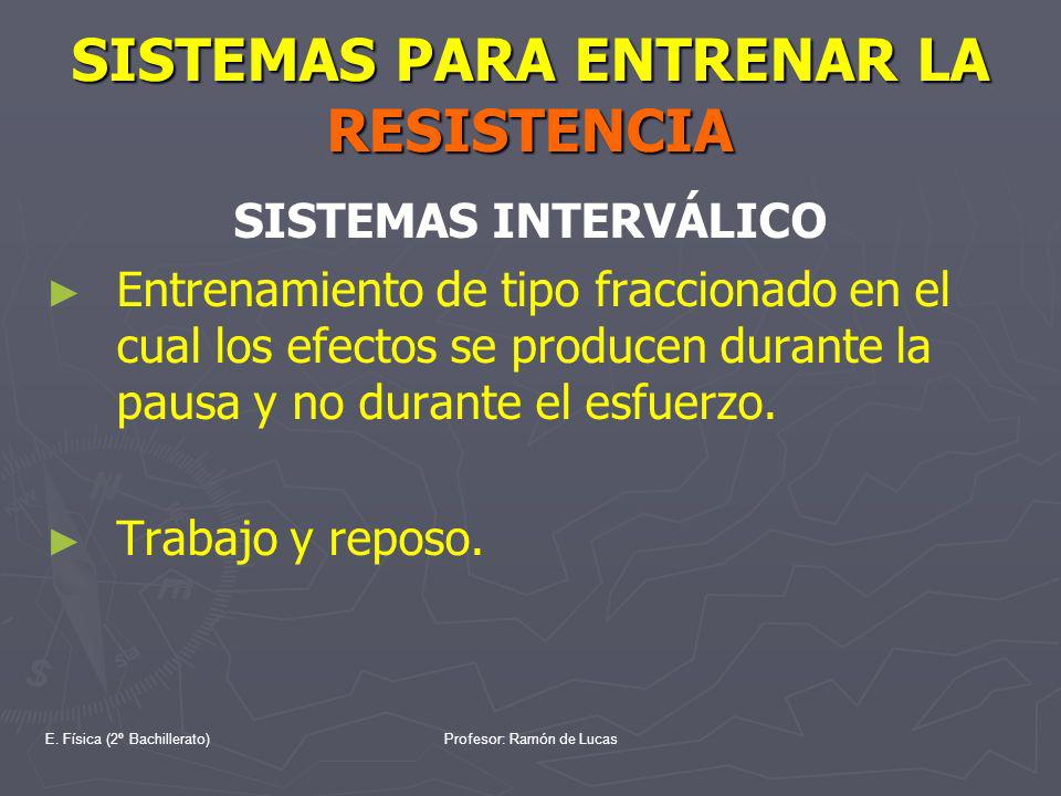 E. Física (2º Bachillerato)Profesor: Ramón de Lucas SISTEMAS PARA ENTRENAR LA RESISTENCIA SISTEMAS INTERVÁLICO Entrenamiento de tipo fraccionado en el