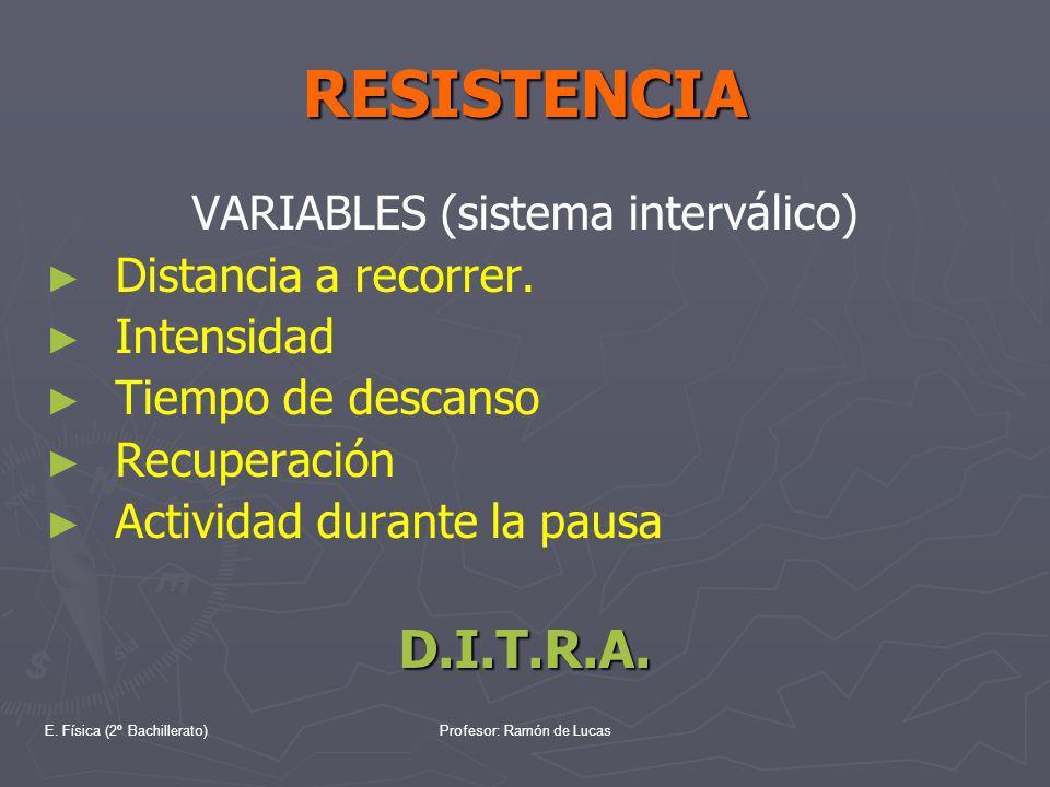 E. Física (2º Bachillerato)Profesor: Ramón de Lucas RESISTENCIA VARIABLES (sistema interválico) Distancia a recorrer. Intensidad Tiempo de descanso Re