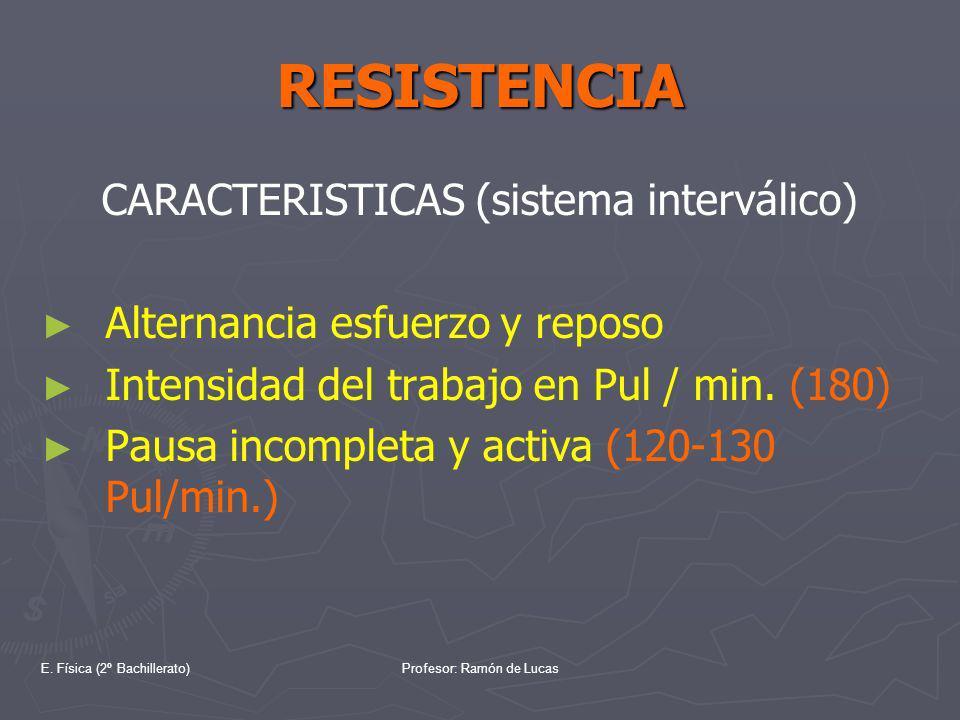 E. Física (2º Bachillerato)Profesor: Ramón de Lucas RESISTENCIA CARACTERISTICAS (sistema interválico) Alternancia esfuerzo y reposo Intensidad del tra