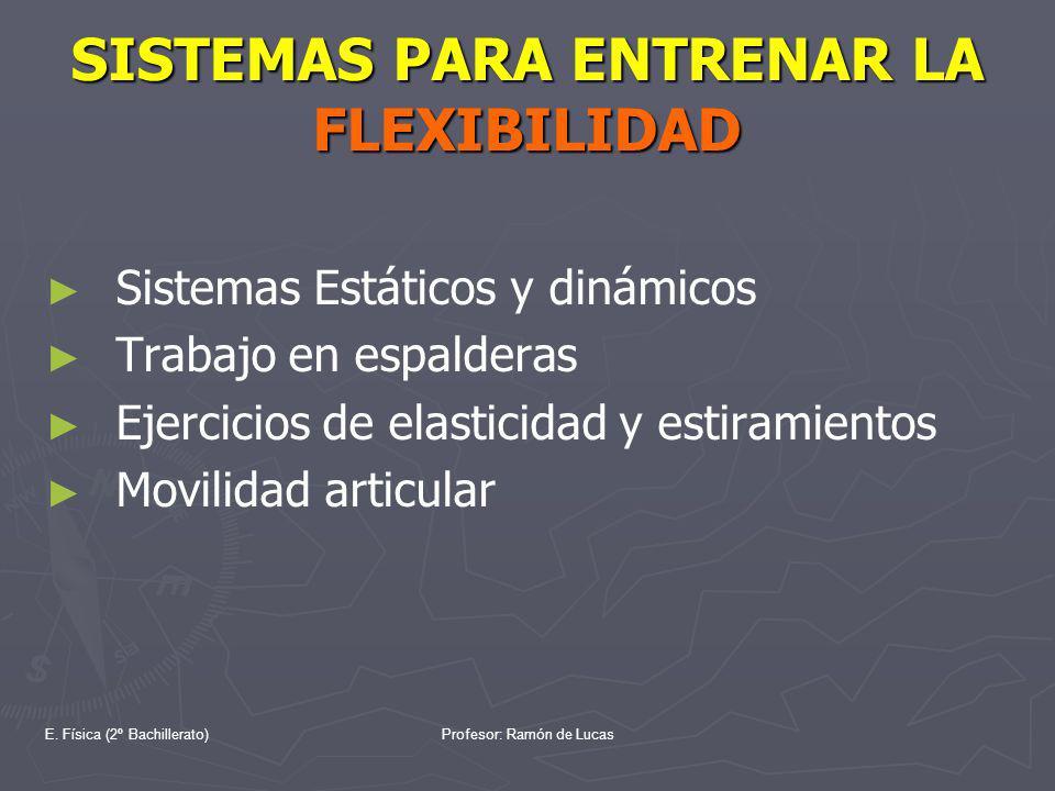 E. Física (2º Bachillerato)Profesor: Ramón de Lucas SISTEMAS PARA ENTRENAR LA FLEXIBILIDAD Sistemas Estáticos y dinámicos Trabajo en espalderas Ejerci