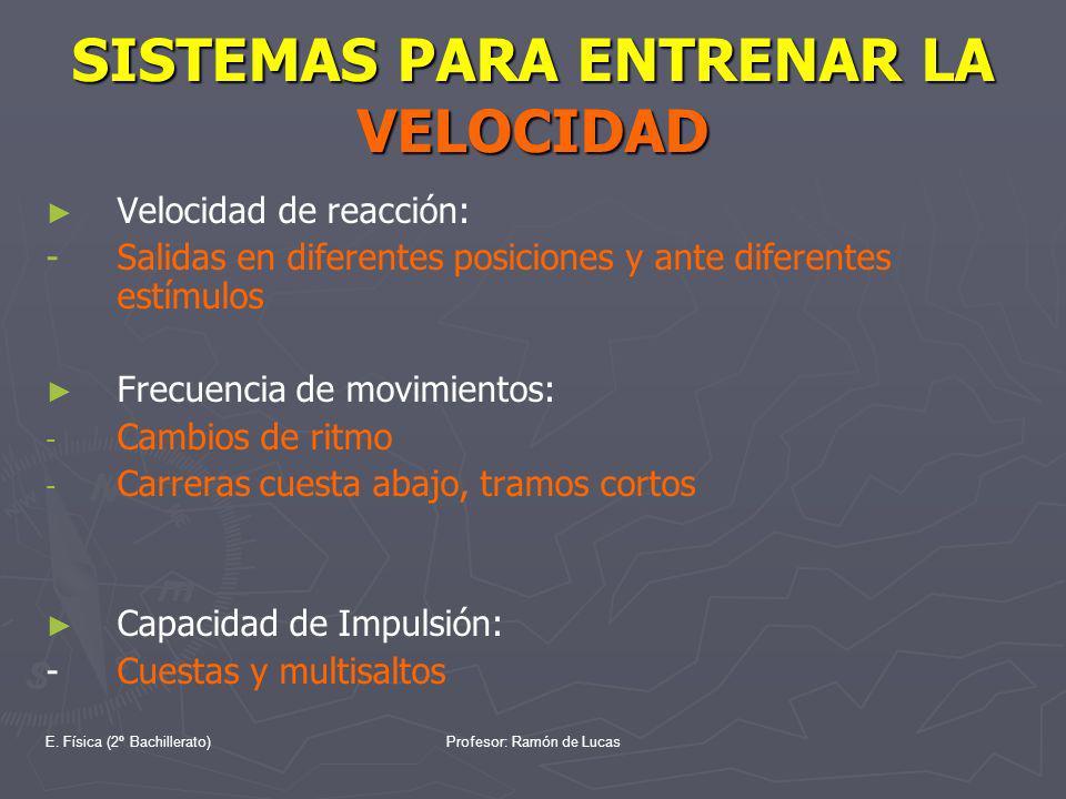 E. Física (2º Bachillerato)Profesor: Ramón de Lucas SISTEMAS PARA ENTRENAR LA VELOCIDAD Velocidad de reacción: - Salidas en diferentes posiciones y an