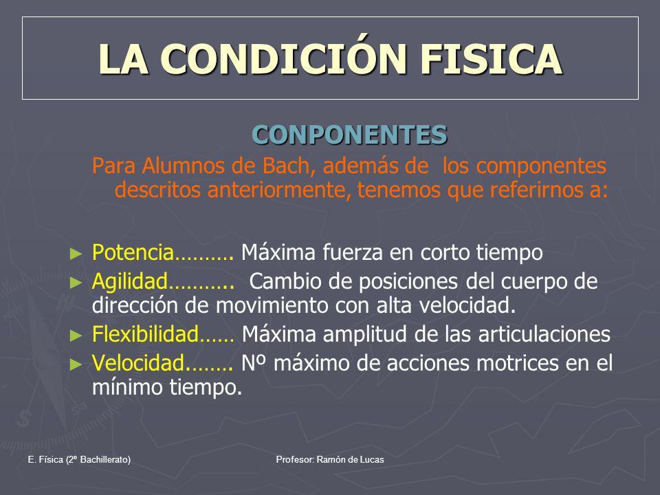 E. Física (2º Bachillerato)Profesor: Ramón de Lucas LA CONDICIÓN FISICA CONPONENTES Para Alumnos de Bach, además de los componentes descritos anterior