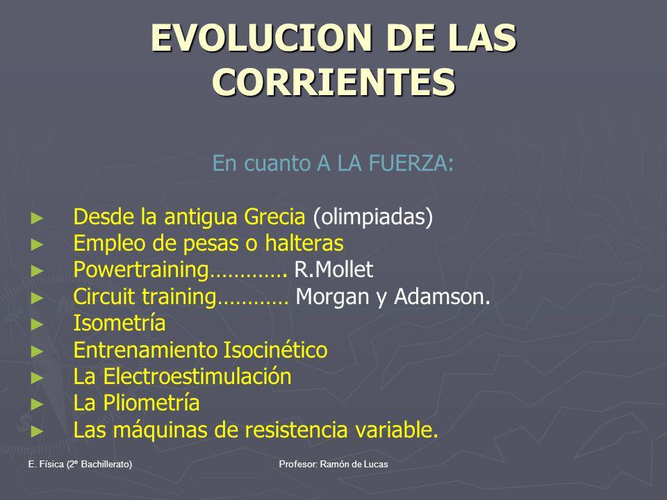 E. Física (2º Bachillerato)Profesor: Ramón de Lucas EVOLUCION DE LAS CORRIENTES En cuanto A LA FUERZA: Desde la antigua Grecia (olimpiadas) Empleo de
