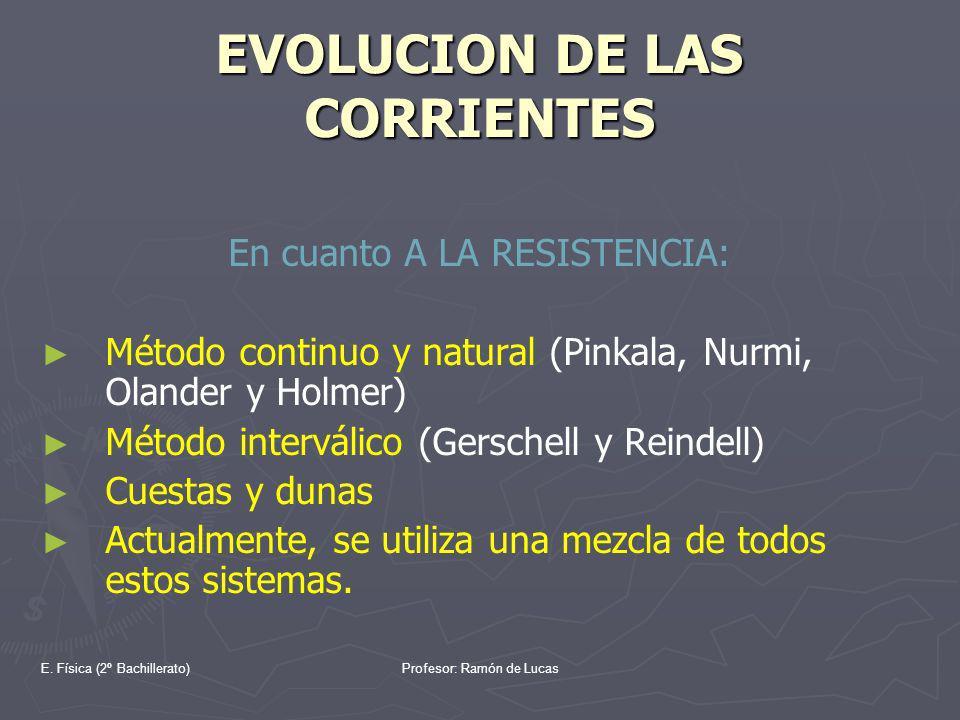 E. Física (2º Bachillerato)Profesor: Ramón de Lucas EVOLUCION DE LAS CORRIENTES En cuanto A LA RESISTENCIA: Método continuo y natural (Pinkala, Nurmi,