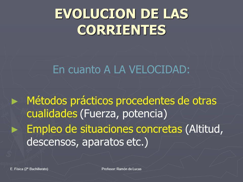 E. Física (2º Bachillerato)Profesor: Ramón de Lucas EVOLUCION DE LAS CORRIENTES En cuanto A LA VELOCIDAD: Métodos prácticos procedentes de otras cuali