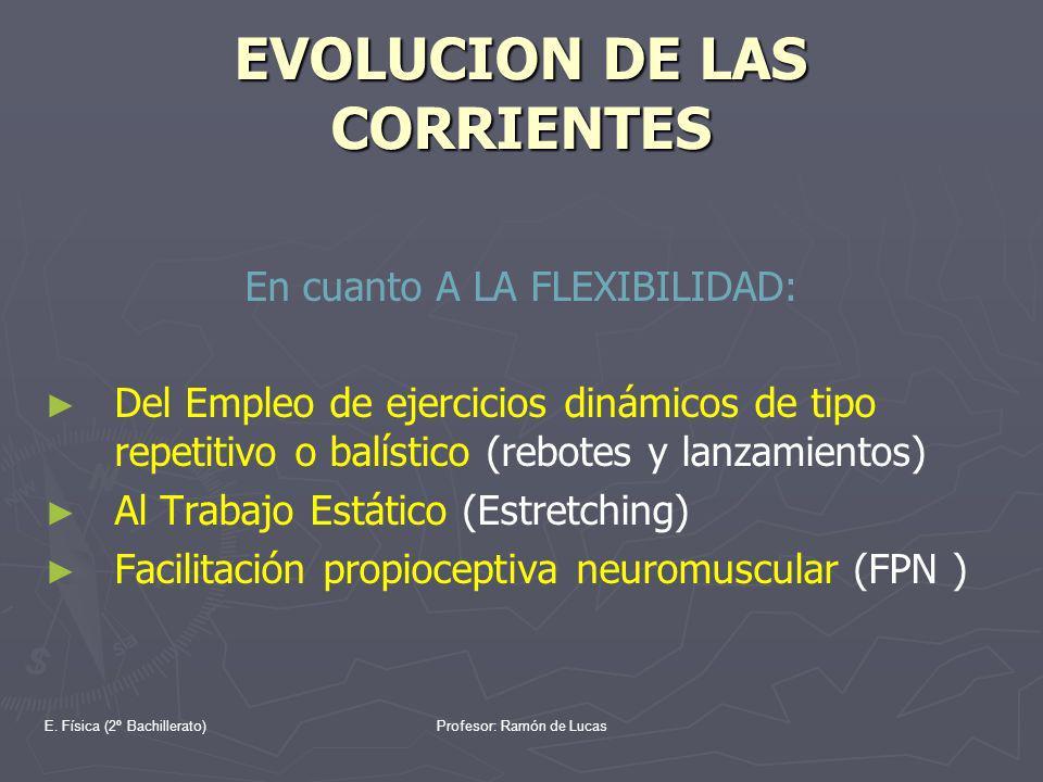 E. Física (2º Bachillerato)Profesor: Ramón de Lucas EVOLUCION DE LAS CORRIENTES En cuanto A LA FLEXIBILIDAD: Del Empleo de ejercicios dinámicos de tip