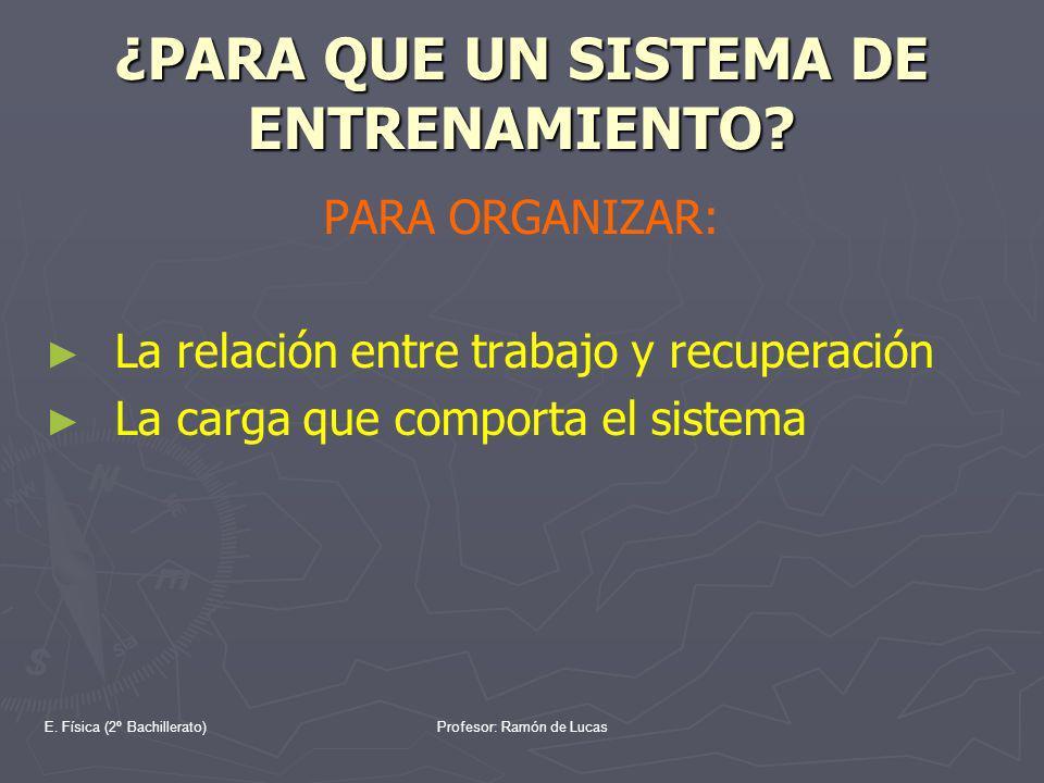 E. Física (2º Bachillerato)Profesor: Ramón de Lucas ¿PARA QUE UN SISTEMA DE ENTRENAMIENTO? PARA ORGANIZAR: La relación entre trabajo y recuperación La