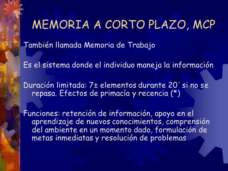 MEMORIA A CORTO PLAZO, MCP También llamada Memoria de Trabajo Es el sistema donde el individuo maneja la información Duración limitada: 7± elementos d