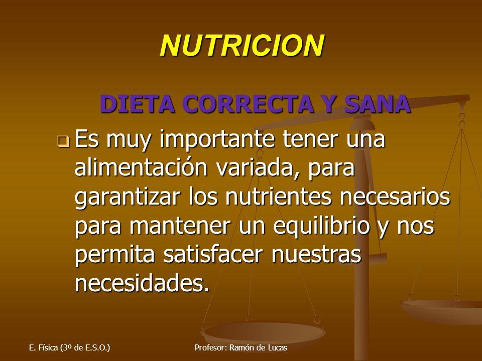 E. Física (3º de E.S.O.)Profesor: Ramón de Lucas NUTRICION DIETA CORRECTA Y SANA Es muy importante tener una alimentación variada, para garantizar los