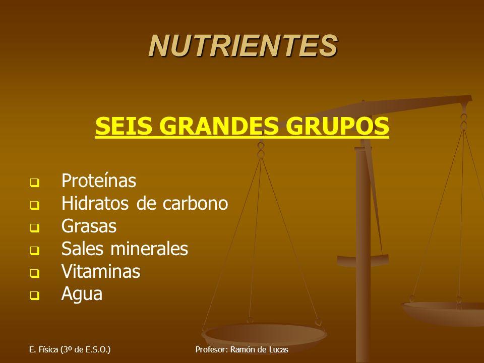 E. Física (3º de E.S.O.)Profesor: Ramón de Lucas NUTRIENTES SEIS GRANDES GRUPOS Proteínas Hidratos de carbono Grasas Sales minerales Vitaminas Agua