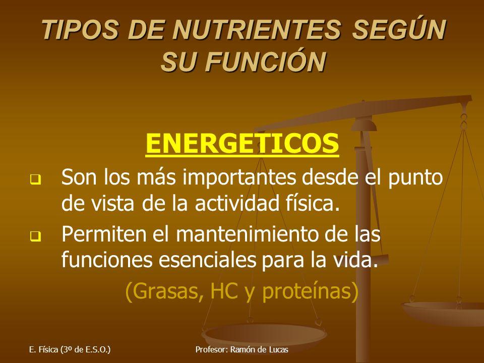 E. Física (3º de E.S.O.)Profesor: Ramón de Lucas TIPOS DE NUTRIENTES SEGÚN SU FUNCIÓN ENERGETICOS Son los más importantes desde el punto de vista de l