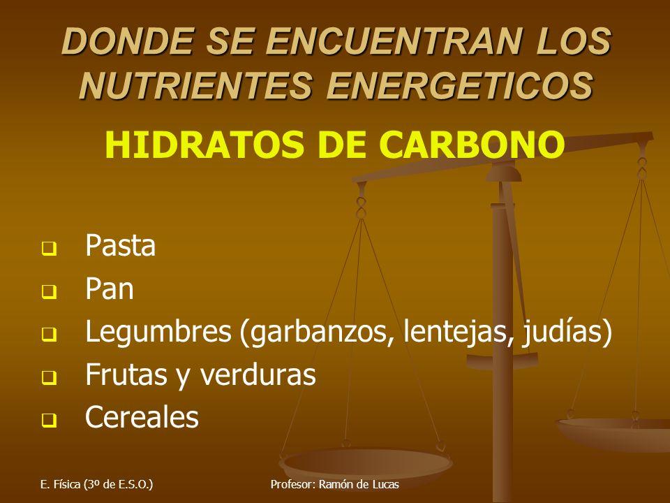 E. Física (3º de E.S.O.)Profesor: Ramón de Lucas DONDE SE ENCUENTRAN LOS NUTRIENTES ENERGETICOS HIDRATOS DE CARBONO Pasta Pan Legumbres (garbanzos, le