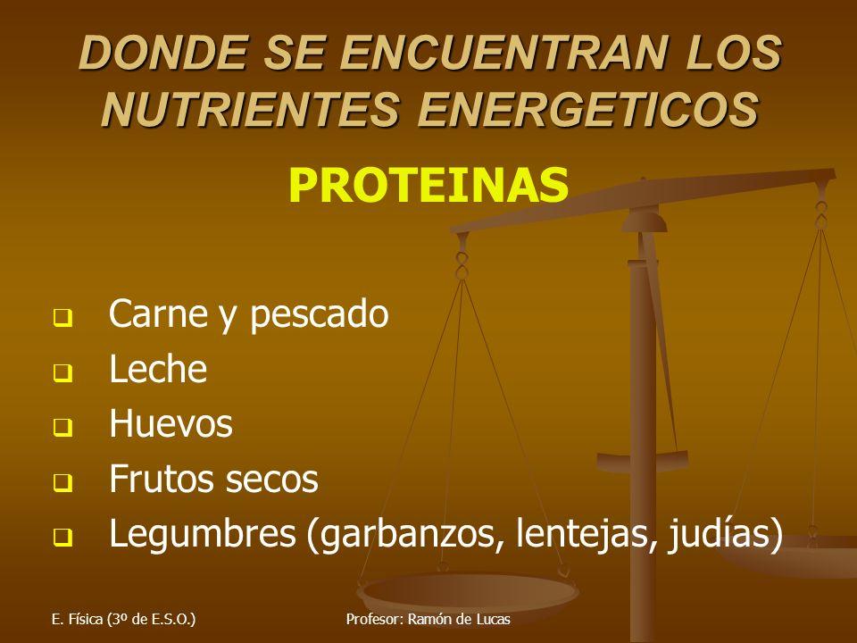 E. Física (3º de E.S.O.)Profesor: Ramón de Lucas DONDE SE ENCUENTRAN LOS NUTRIENTES ENERGETICOS PROTEINAS Carne y pescado Leche Huevos Frutos secos Le
