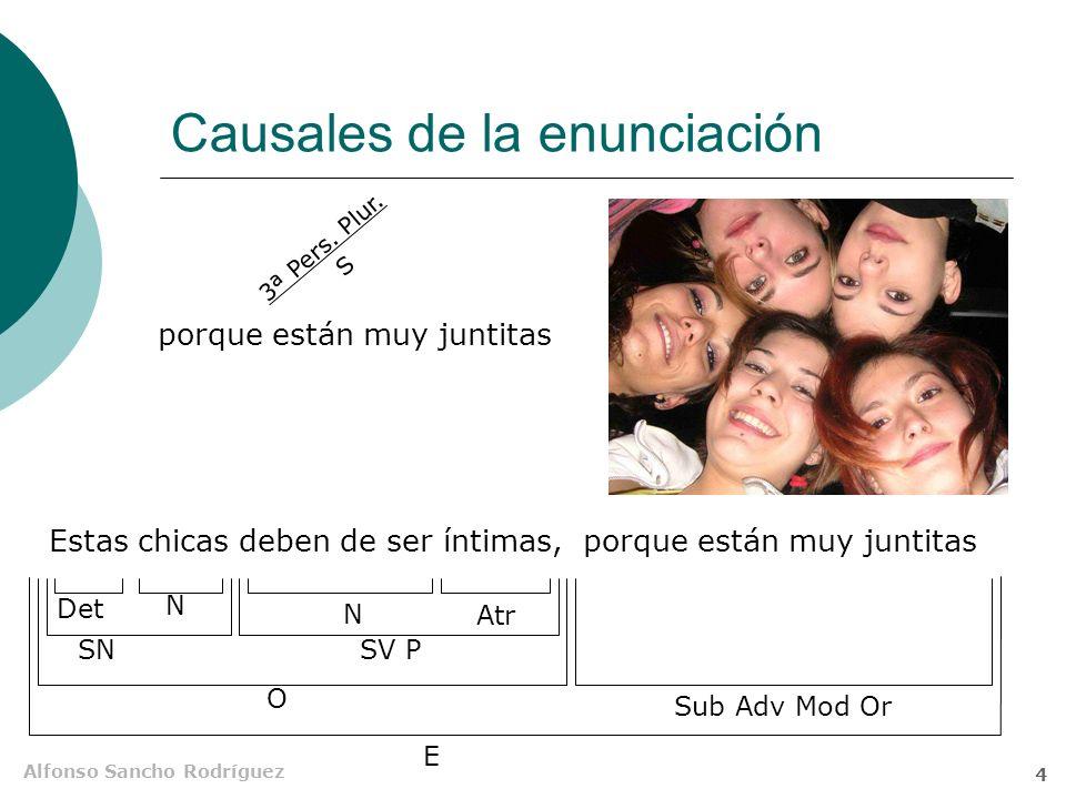 Alfonso Sancho Rodríguez 3 Causales del enunciado Judith y Natalia están feas porque sacan la lengua porque sacan la lengua 3ª Pers. Plur. S SSV P NSu