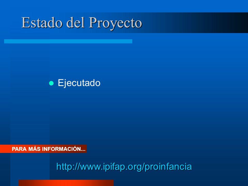 Estado del Proyecto Ejecutado PARA MÁS INFORMACIÓN... http://www.ipifap.org/proinfancia