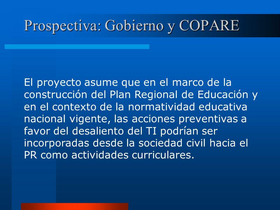 Prospectiva: Gobierno y COPARE El proyecto asume que en el marco de la construcción del Plan Regional de Educación y en el contexto de la normatividad