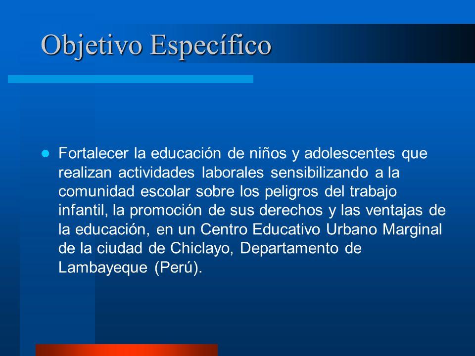 Objetivo Específico Fortalecer la educación de niños y adolescentes que realizan actividades laborales sensibilizando a la comunidad escolar sobre los
