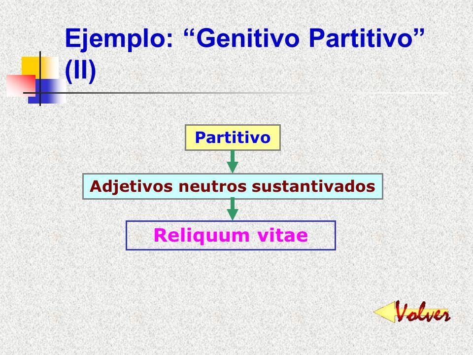 Ejemplo: Genitivo Partitivo (I) Partitivo Nombres que indican cantidad o medida Magna pars militum