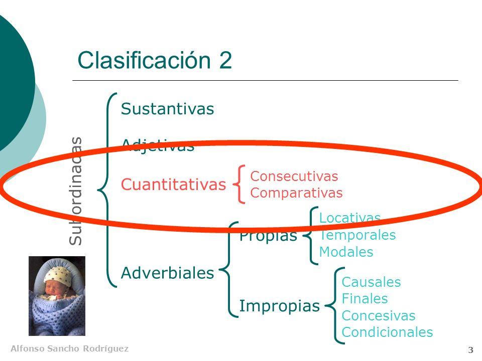 Alfonso Sancho Rodríguez 2 Clasificación 1 Sustantivas Adjetivas Adverbiales Subordinadas Propias Impropias Locativas Temporales Modales Causales Finales Concesivas Condicionales Consecutivas Comparativas (Circunstanciales)