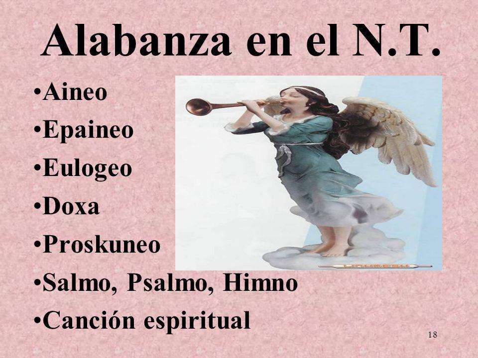 Alabanza en el N.T. Aineo Epaineo Eulogeo Doxa Proskuneo Salmo, Psalmo, Himno Canción espiritual 18