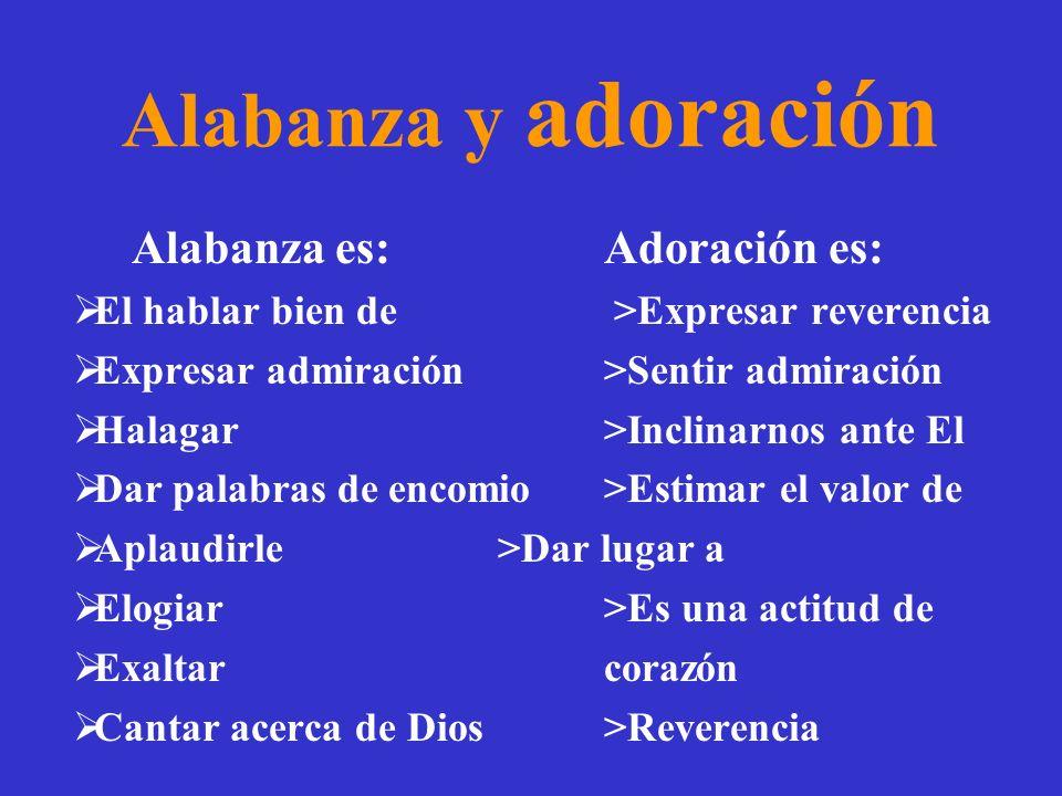 Alabanza y adoración Alabanza es: Adoración es: El hablar bien de >Expresar reverencia Expresar admiración >Sentir admiración Halagar >Inclinarnos ant