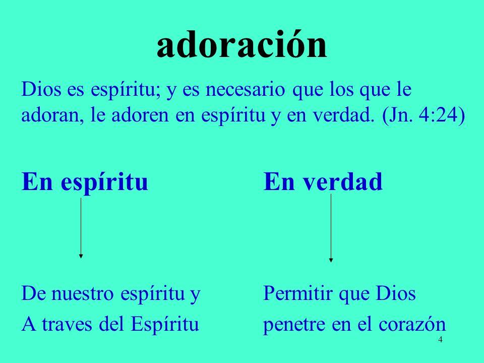 adoración Dios es espíritu; y es necesario que los que le adoran, le adoren en espíritu y en verdad. (Jn. 4:24) En espírituEn verdad De nuestro espíri
